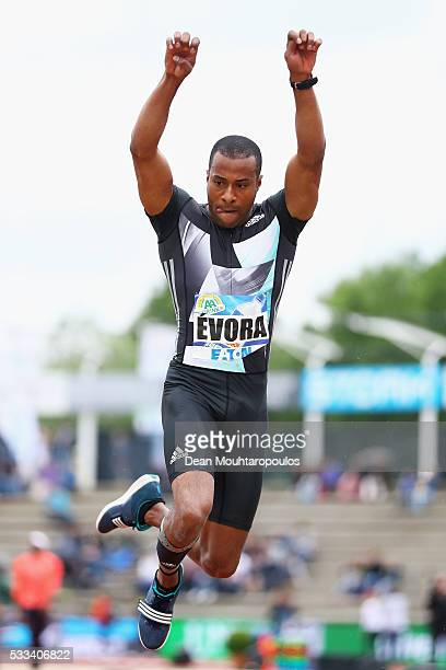 Nelson Evora of Portugal competes in the mens triple Jump during the AA Drink FBK Games held at the FBK Stadium on May 22 2016 in Hengelo Netherlands