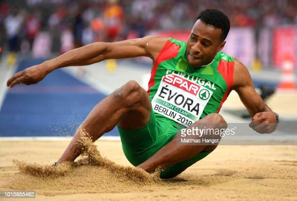 Nelson Evora of Portugal competes in the Men's Triple Jump final during day six of the 24th European Athletics Championships at Olympiastadion on...