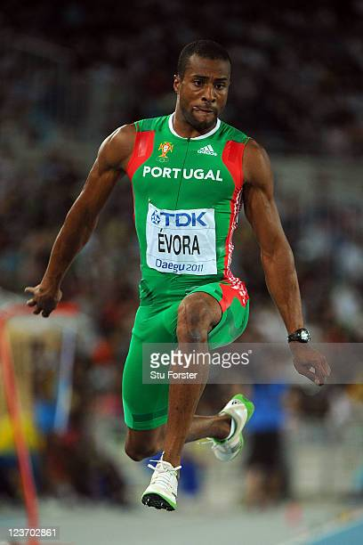 Nelson Evora of Portugal competes in the men's triple jump final during day nine of 13th IAAF World Athletics Championships at Daegu Stadium on...