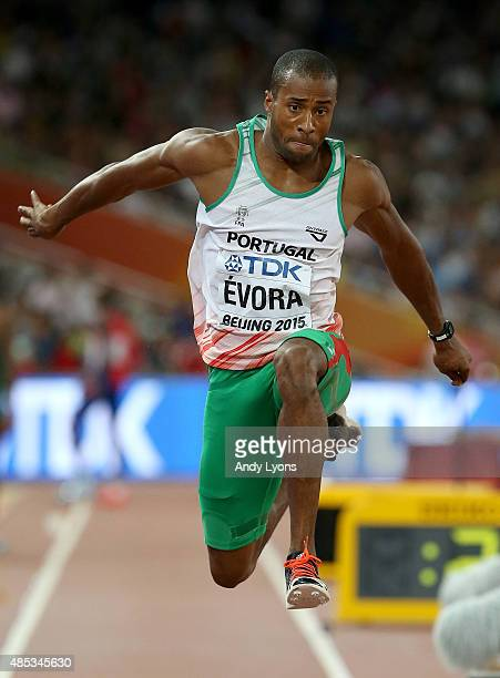 Nelson Evora of Portugal competes in the Men's Triple Jump final during day six of the 15th IAAF World Athletics Championships Beijing 2015 at...