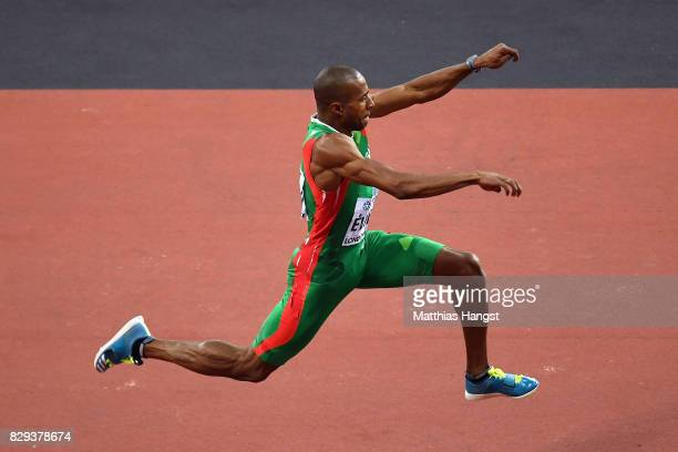 Nelson Evora of Portugal competes in the mens triple jump final during day seven of the 16th IAAF World Athletics Championships London 2017 at The...
