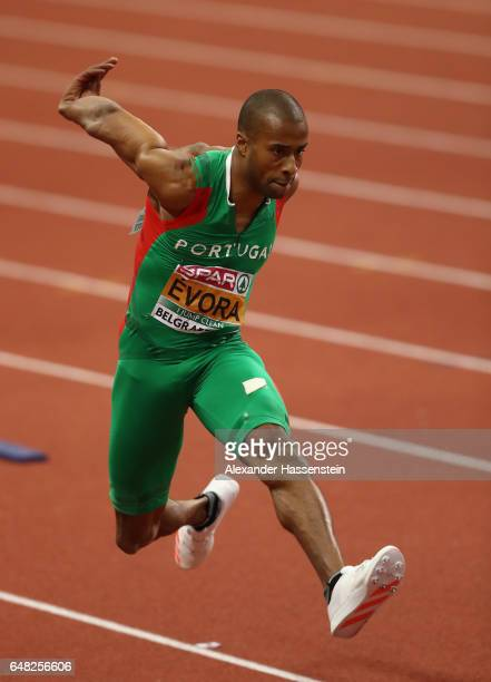 Nelson Evora of Portugal competes in the Men's Triple Jump final on day three of the 2017 European Athletics Indoor Championships at the Kombank...