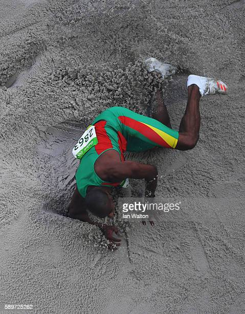 Nelson Evora of Portugal competes in the Men's Triple Jump qualification on Day 10 of the Rio 2016 Olympic Games at the Olympic Stadium on August 15...