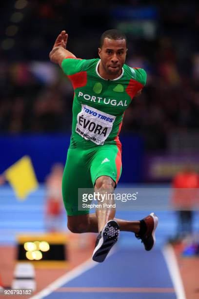 Nelson Evora of Portugal competes in the Triple Jump Mens Final during the IAAF World Indoor Championships on Day Three at Arena Birmingham on March...