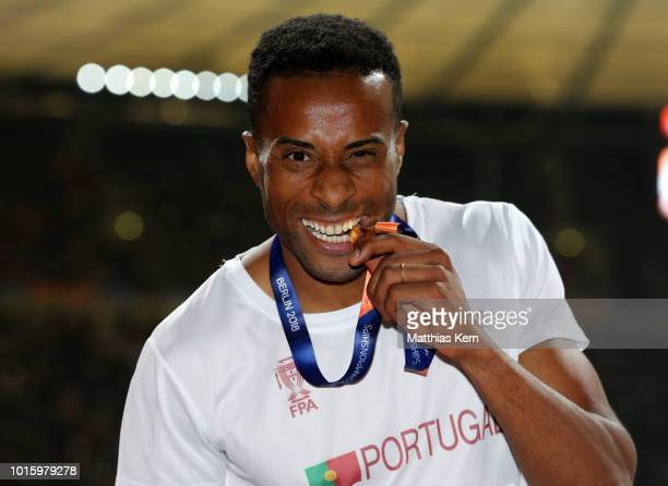 Nelson Evora of Portugal gold poses with his medal for the Men's Triple Jump during day six of the 24th European Athletics Championships at...
