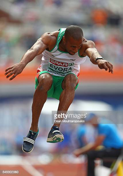 Nelson Evora of Portugal in action during qualifying for the mens triple jump on day two of The 23rd European Athletics Championships at Olympic...