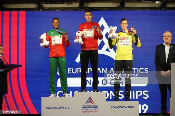 Nelson Evora of Portugal Nazim Babayev or Azerbaijan and Max Heb of Germany with their medals during the medal ceremony for the men's triple jump on...