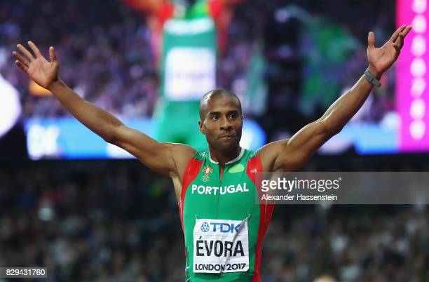 Nelson Evora of Portugal reacts after his final jump of the mens triple jump final during day seven of the 16th IAAF World Athletics Championships...