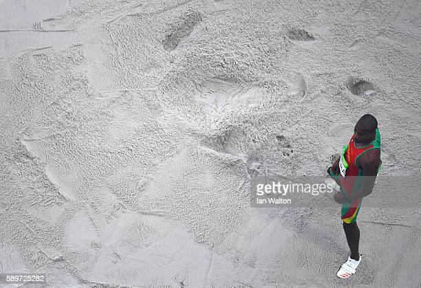 Nelson Evora of Portugal reacts as he competes in the Men's Triple Jump qualification on Day 10 of the Rio 2016 Olympic Games at the Olympic Stadium...