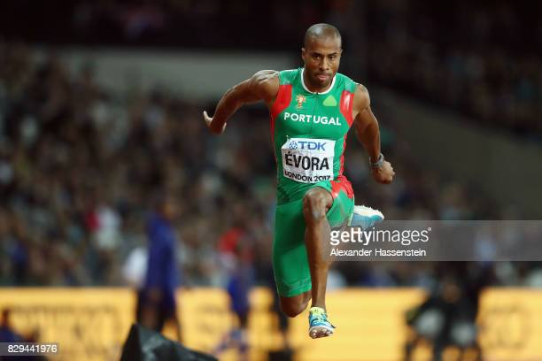 Nelson Evora of the Portugal competes in the mens triple jump final during day seven of the 16th IAAF World Athletics Championships London 2017 at...