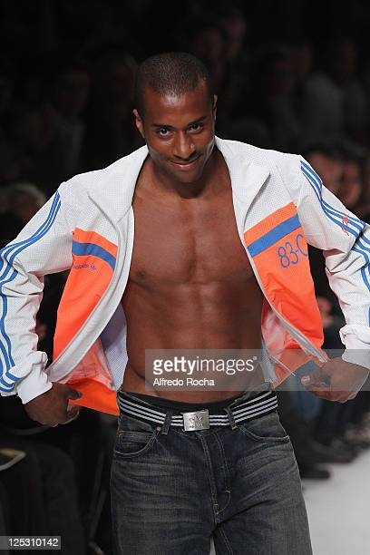 Nelson Evora walks the runway at the Adidas show at Lisbon Fashion Week Spring/Summer 2011 on October 9 2010 in Lisbon Portugal