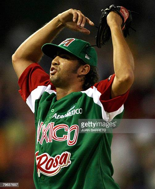 Nelson Figueroa of the Mexican Yaquis celebrates during game against the Tigres del Licey of the Dominican Republic during a Caribbean Series game at...