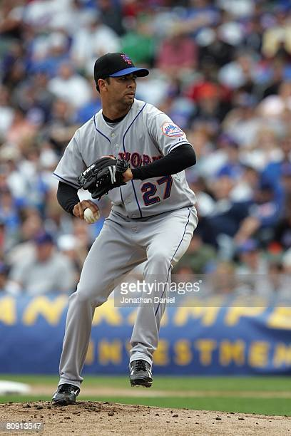 Nelson Figueroa of the New York Mets pitches against the Chicago Cubs on April 22 2008 at Wrigley Field in Chicago Illinois
