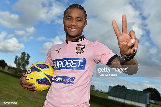 Nelson gestures wearing his team shirt before his presentation as a new player of Palermo at Tenente Carmelo Onorato Sports Center on January 29 2013...