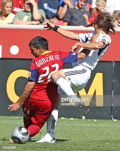 Nelson Gonxalez of Real Salt Lake and Bratislav Ristic of the Chicago Fire fight for the ball during the first half of an MLS soccer game September...