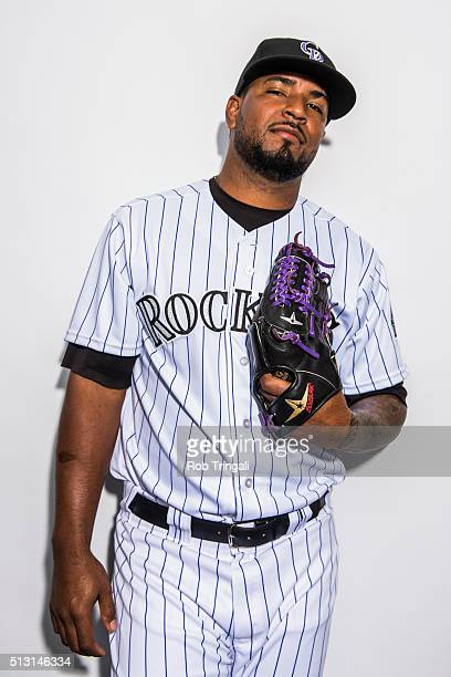 Nelson Gonzalez of the Colorado Rockies poses for a portrait at the Salt River Fields at Talking Stick on February 29 2016 in Sottsdale Arizona