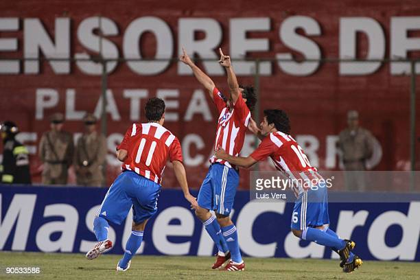 Nelson Haedo of Paraguay celebrates scored goal against Argentina during their FIFA World Cup South Africa2010 qualifier football match at the...