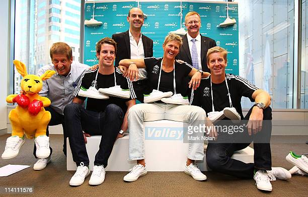 HG Nelson James Magnussen Natalie Cook James Tomkins Chris Miles and John Coates are pictured during an AOC Sponsorship Announcement at Governor...