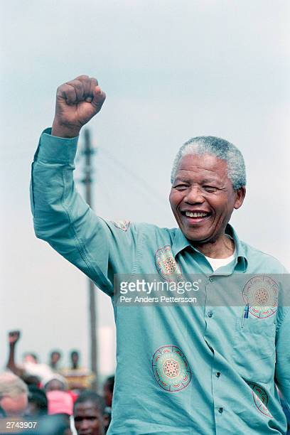 Nelson Mandela acknowledges a crowd of ANC supporters April 21 1994 at a preelection rally in Durban days before the historic democratic election on...
