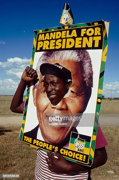 A Nelson Mandela admirer struts after the President Mangope is ousted by the ANC Mangope refused to let Bophuthatswana residents to vote in South...