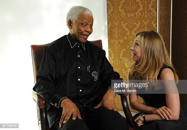 Nelson Mandela and Chelsea Clinton attend the dinner in honour of Nelson Mandela celebrating his 90th birthday at Hyde Park on June 25 2008 in London...