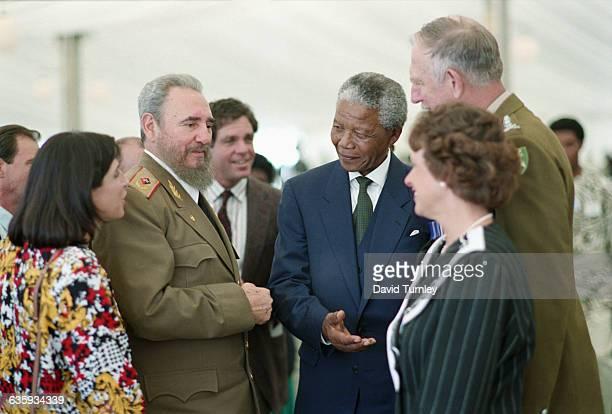 Nelson Mandela and Fidel Castro at Inauguration Ceremony