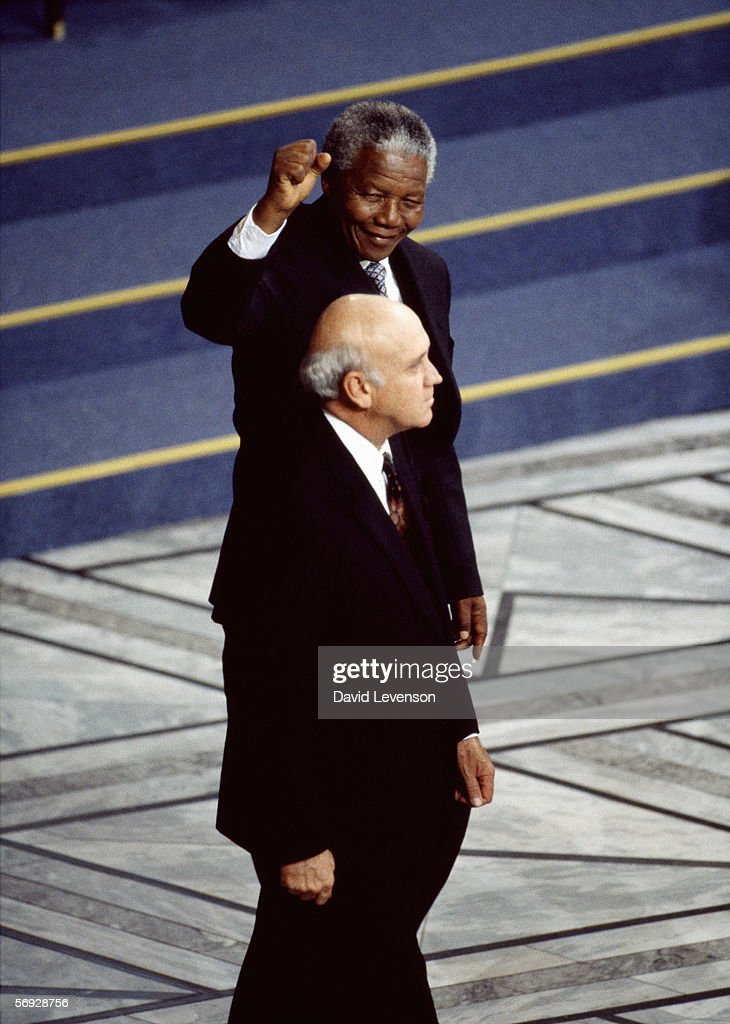 Nelson Mandela and F.W. de Klerk, the South African President, receive the Nobel Peace Prize at City Hall in Oslo, Norway on December 10, 1993.