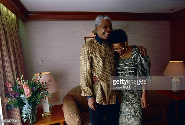 Nelson Mandela and Graca Machel enjoying a moment in their stateroom on the Queen Elizabeth 2 ocean liner Former President of South Africa and...