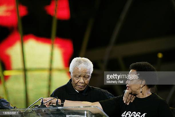 Nelson Mandela and Graca Machel host the 46664 World AIDS Day Concert at Ellis Park Stadium in Johannesburg South Africa December 1 2007