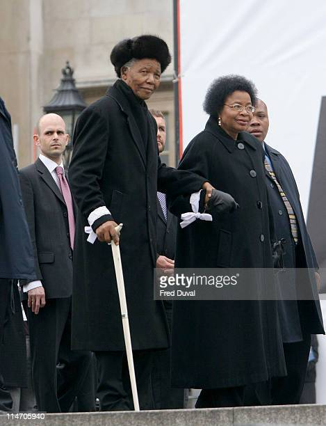 Nelson Mandela and Graca Machel on stage at the Make Poverty History rally at Trafalgar Square in London Make Poverty History is a coalition of over...
