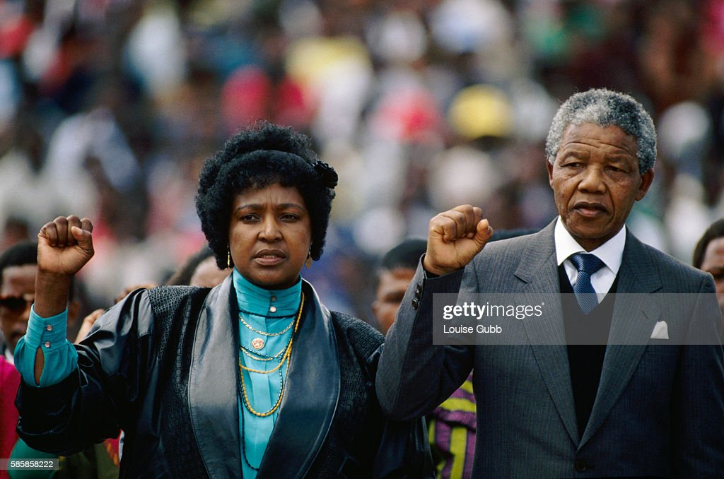 Nelson and Winnie Mandela at His Welcome Home Rally : News Photo