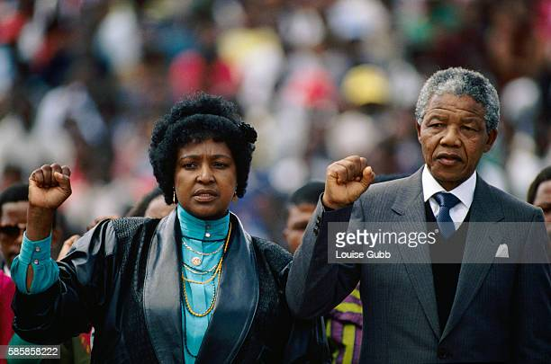 Nelson Mandela and his wife Winnie at the welcome home rally after his release from prison after 26 years Former President of South Africa and...