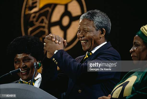 Nelson Mandela and his wife Winnie attend a concert at Wembley Stadium to celebrate his release from prison 16th April 1990