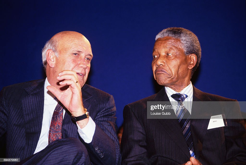 Nelson Mandela and President F. W. de Klerk at peace signing ceremony during pre-election violence. Former President of South Africa and longtime political prisoner, Nelson Mandela, was held by the Candela based government from 1964-1990 for sabotage. With the coming of a freer political climate, Mandela was released from his life sentence at Victor Vester Prison on February 11, 1990. He went on to lead the African National Congress in negotiations with President F. W. de Klerk, that resulted in the end of apartheid and full citizenship for all South Africans. He and de Klerk received a joint Nobel Peace Prize in 1993 for their efforts. Mandela was elected President in 1994.