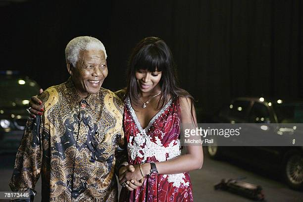 Nelson Mandela and Supermodel Naomi Campbell at the Press Conference for the 46664 World Aids Day Concert at Gallagher Estate in Gauteng South Africa...