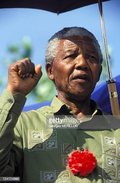 Nelson Mandela at 1961 Massacre Commemoration In Sharpeville South Africa On March 21 1994