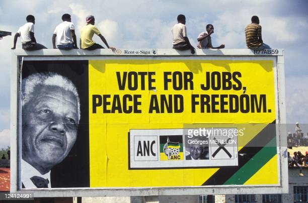 Nelson Mandela at 1961 Massacre Commemoration In Sharpeville South Africa On March 21 1994 ANC meeting