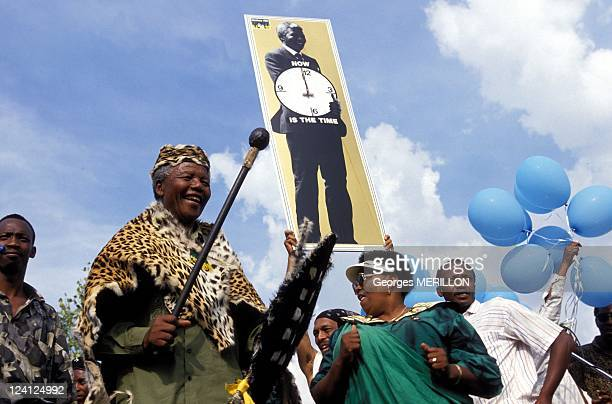 Nelson Mandela at 1961 Massacre Commemoration In Sharpeville South Africa On March 21 1994 Nelson Mandela effigies
