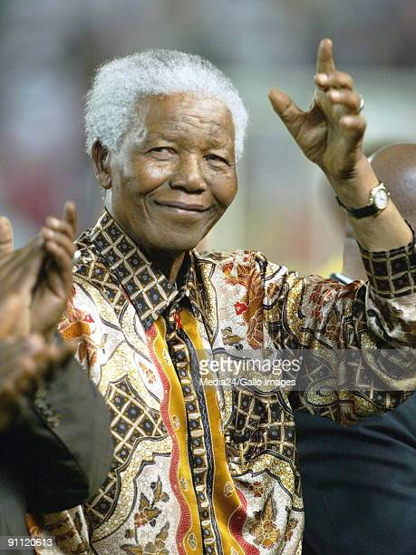 Nelson Mandela at a soccer match between Bafana Bafana the South African national side and Nigeria