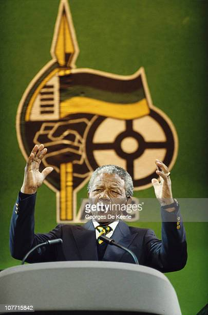 Nelson Mandela attends a concert at Wembley Stadium to celebrate his release from prison 16th April 1990