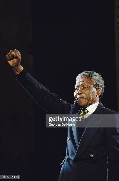 Nelson Mandela attends a concert in the UK to celebrate his release from prison 16th April 1990