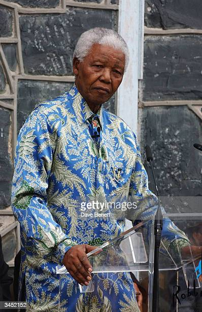 Nelson Mandela attends the Robben Island Prison Press Conference where Nelson Mandela was imprisoned at Robben Island on November 28 2003 in Cape Town