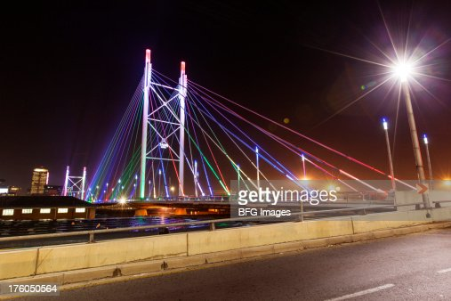 Nelson Mandela Bridge At Night Braamfontein Johannesburg ...