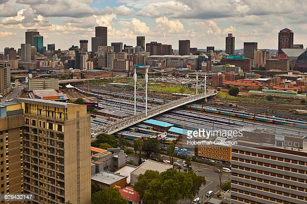 Nelson Mandela Bridge in Johannesburg South Africa Completed in 2003 it links two main business areas of Braamfontein and Newtown