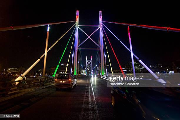 Nelson Mandela Bridge lit up at night, downtown Johannesburg.
