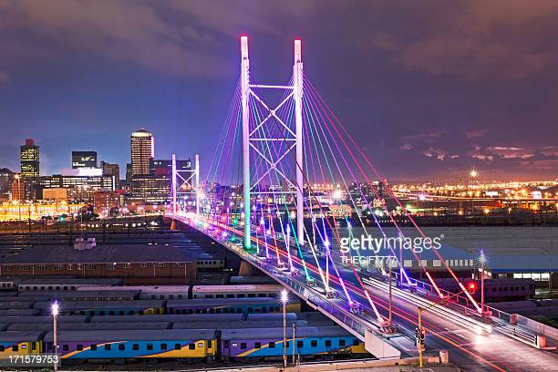 nelson mandela bridge sunset - south africa stock pictures, royalty-free photos & images