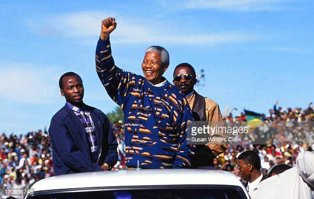 Nelson Mandela campaigns during the first democratic election Cape Town South Africa 1995