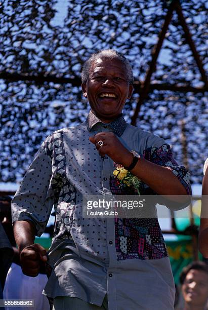 Nelson Mandela dances at rally in Nyanga before the first Democratic election A longtime political prisoner Nelson Mandela was held by the apartheid...
