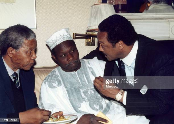 Nelson Mandela deputy Leader African National Congress visits London UK for the first time since his release Sunday 15th April 1990 Pictured with...