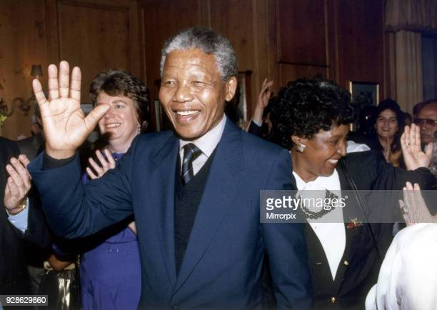 Nelson Mandela deputy Leader African National Congress visits London UK for the first time since his release Sunday 15th April 1990 Wife Winnie...